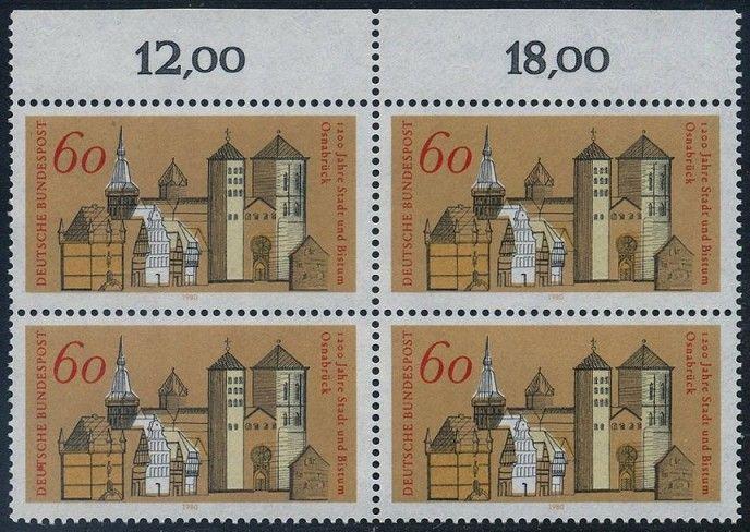 BUND 1980 Michel-Nummer 1035 postfrisch BLOCK RÄNDER oben