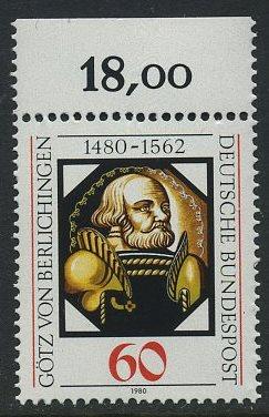BUND 1980 Michel-Nummer 1036 postfrisch EINZELMARKE RAND oben (b)