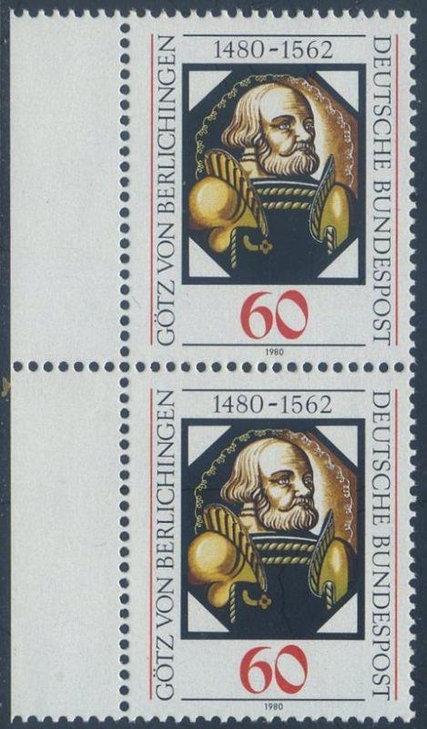 BUND 1980 Michel-Nummer 1036 postfrisch vert.PAAR RAND links