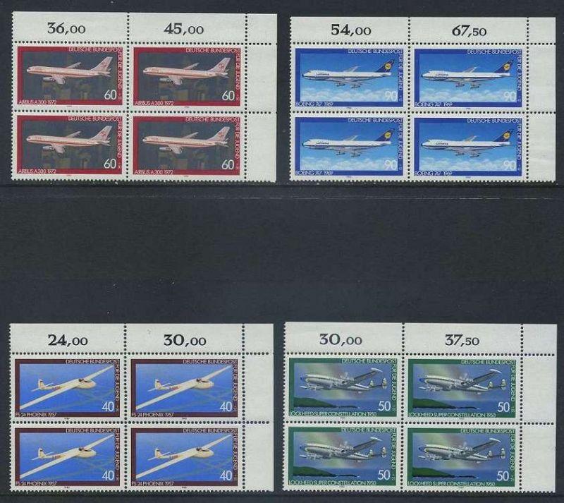 BUND 1980 Michel-Nummer 1040-1043 postfrisch SATZ(4) BLÖCKE ECKRAND oben rechts