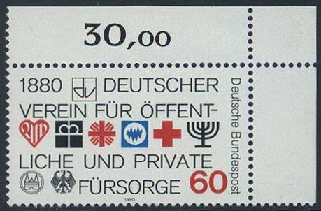 BUND 1980 Michel-Nummer 1044 postfrisch EINZELMARKE ECKRAND oben rechts