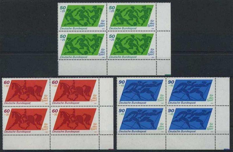 BUND 1980 Michel-Nummer 1046-1048 postfrisch SATZ(3) BLÖCKE ECKRAND unten rechts