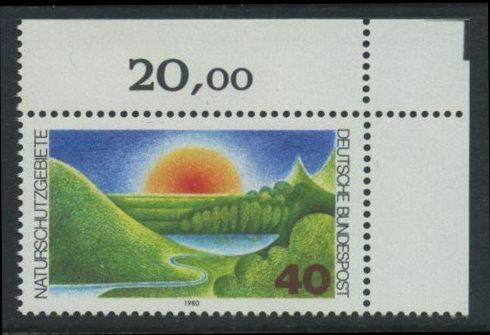 BUND 1980 Michel-Nummer 1052 postfrisch EINZELMARKE ECKRAND oben rechts