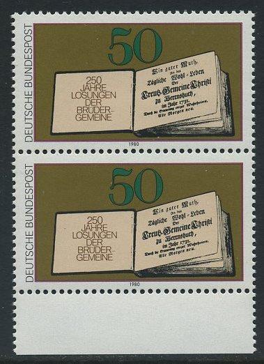 BUND 1980 Michel-Nummer 1054 postfrisch vert.PAAR RAND unten