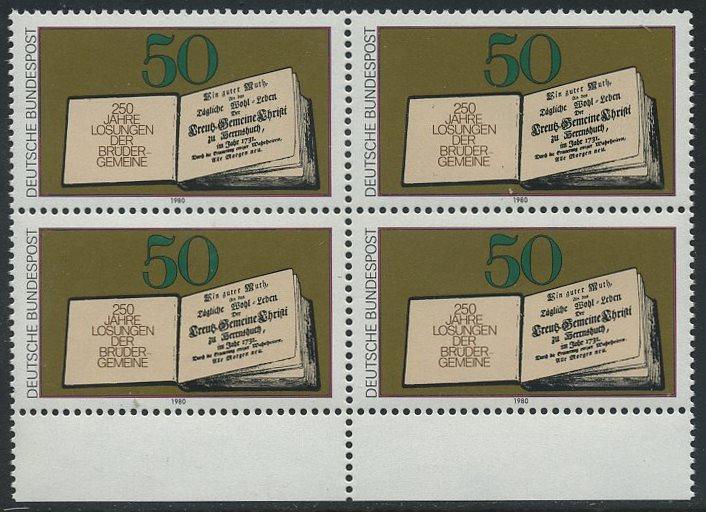 BUND 1980 Michel-Nummer 1054 postfrisch BLOCK RÄNDER unten