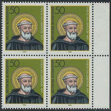 BUND 1980 Michel-Nummer 1055 postfrisch BLOCK RÄNDER rechts