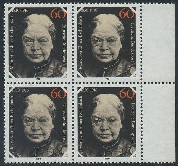 BUND 1980 Michel-Nummer 1057 postfrisch BLOCK RÄNDER rechts