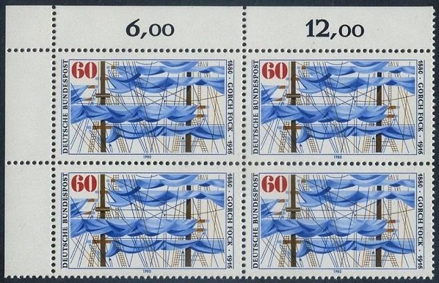 BUND 1980 Michel-Nummer 1058 postfrisch BLOCK ECKRAND oben links