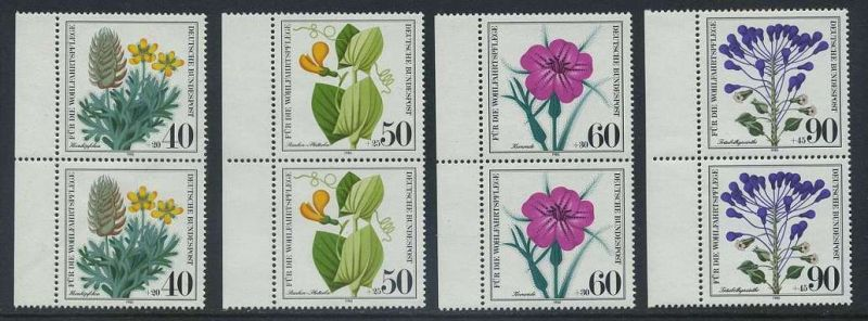 BUND 1980 Michel-Nummer 1059-1062 postfrisch SATZ(4) vert.PAARE RÄNDER links