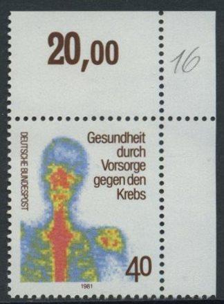 BUND 1981 Michel-Nummer 1089 postfrisch EINZELMARKE ECKRAND oben rechts