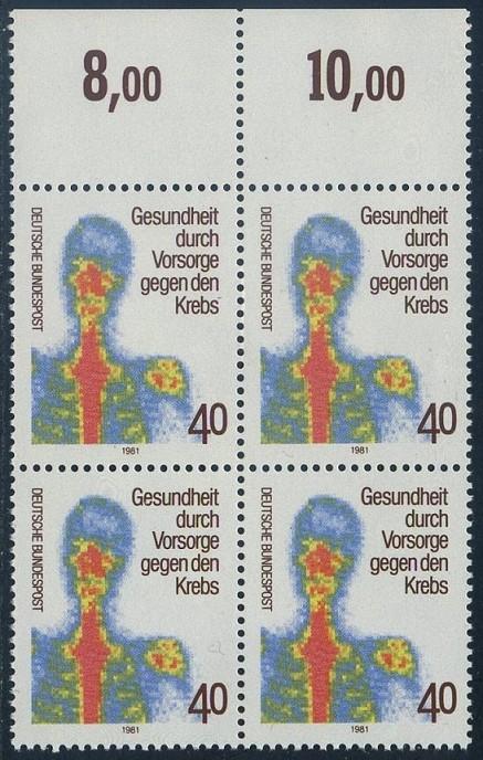 BUND 1981 Michel-Nummer 1089 postfrisch BLOCK RÄNDER oben