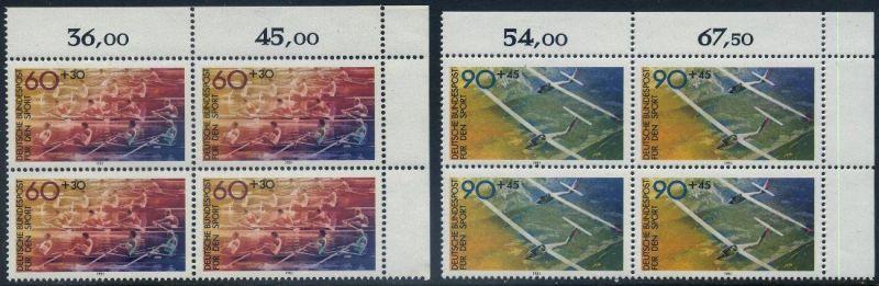 BUND 1981 Michel-Nummer 1094-1095 postfrisch SATZ(2) BLÖCKE ECKRAND oben rechts