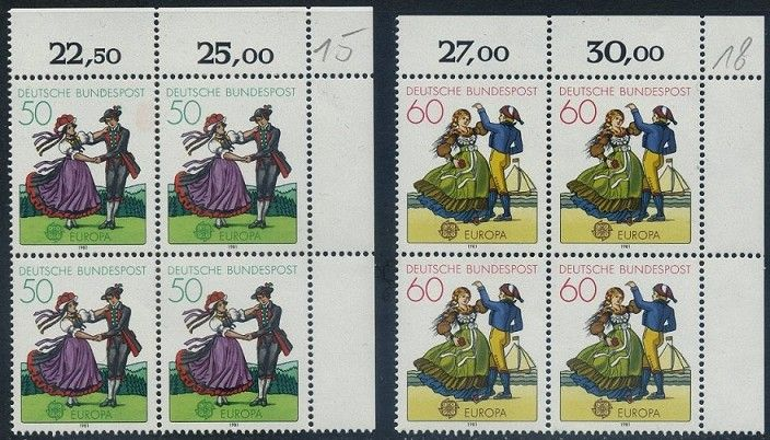 BUND 1981 Michel-Nummer 1096-1097 postfrisch SATZ(2) BLÖCKE ECKRAND oben rechts