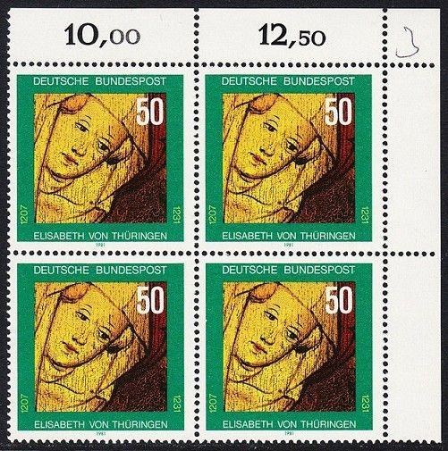 BUND 1981 Michel-Nummer 1114 postfrisch BLOCK ECKRAND oben rechts