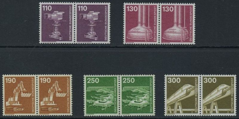 BUND 1982 Michel-Nummer 1134-1138 postfrisch SATZ(5) horiz.PAARE