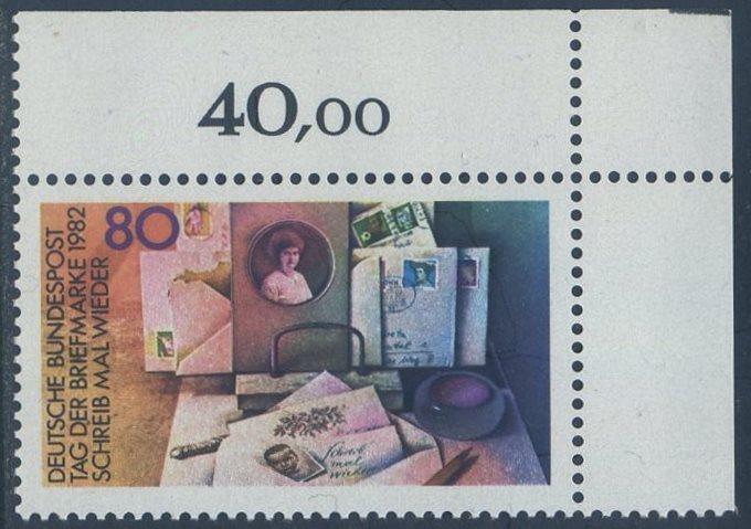 BUND 1982 Michel-Nummer 1154 postfrisch EINZELMARKE ECKRAND oben rechts