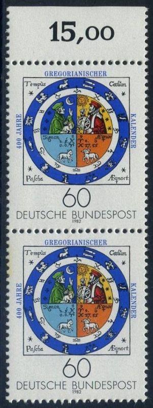 BUND 1982 Michel-Nummer 1155 postfrisch vert.PAAR RAND oben