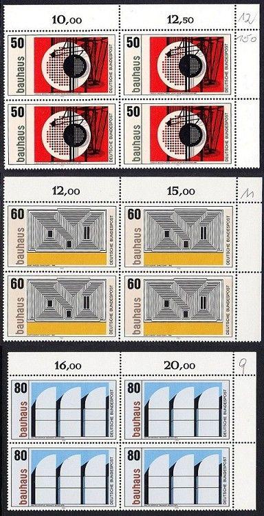 BUND 1983 Michel-Nummer 1164-1166 postfrisch SATZ(3) BLÖCKE ECKRAND oben rechts