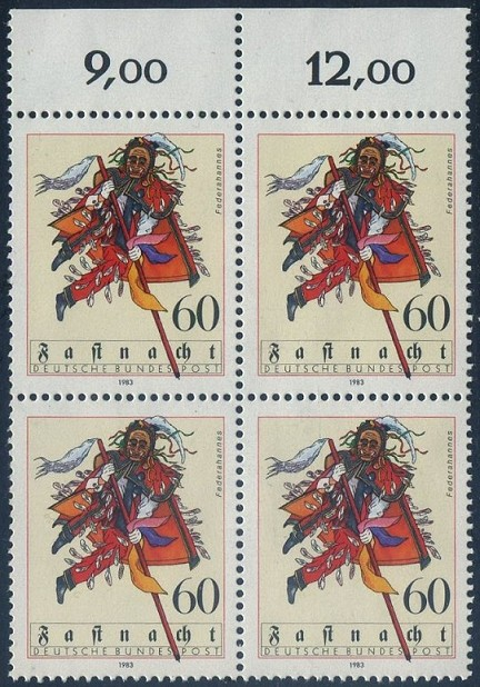 BUND 1983 Michel-Nummer 1167 postfrisch BLOCK RÄNDER oben