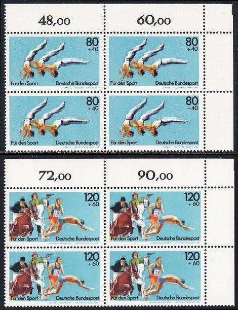 BUND 1983 Michel-Nummer 1172-1173 postfrisch SATZ(2) BLÖCKE ECKRAND oben rechts
