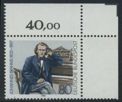 BUND 1983 Michel-Nummer 1177 postfrisch EINZELMARKE ECKRAND oben rechts