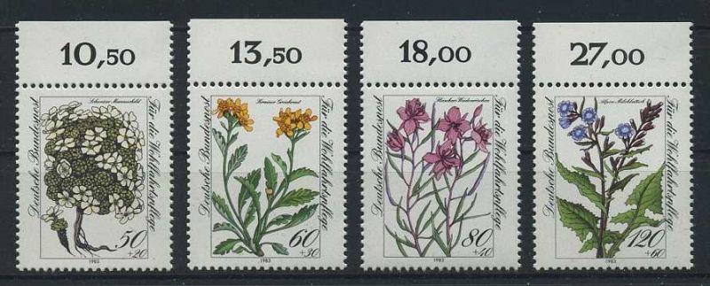 BUND 1983 Michel-Nummer 1188-1191 postfrisch SATZ(4) EINZELMARKEN RÄNDER oben (a)