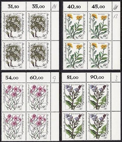 BUND 1983 Michel-Nummer 1188-1191 postfrisch SATZ(4) BLÖCKE ECKRAND oben rechts