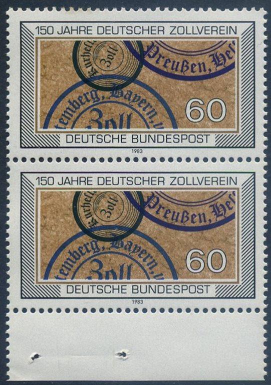 BUND 1983 Michel-Nummer 1195 postfrisch vert.PAAR RAND unten