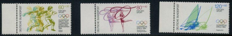 BUND 1984 Michel-Nummer 1206-1208 postfrisch SATZ(3) EINZELMARKEN RÄNDER links