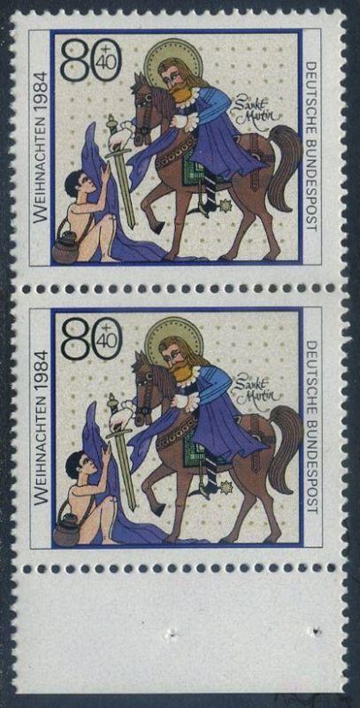 BUND 1984 Michel-Nummer 1233 postfrisch vert.PAAR RAND unten