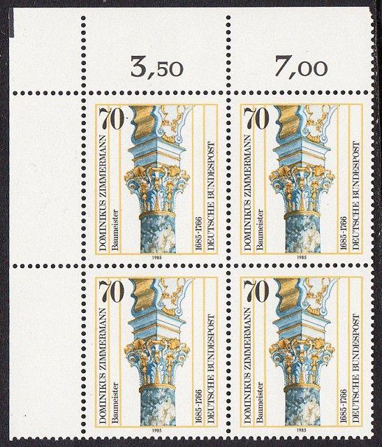 BUND 1985 Michel-Nummer 1251 postfrisch BLOCK ECKRAND oben links