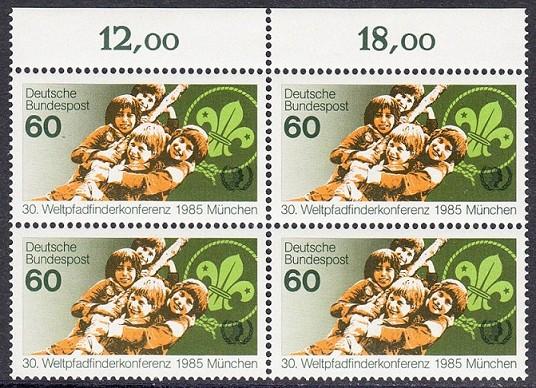 BUND 1985 Michel-Nummer 1254 postfrisch BLOCK RÄNDER oben