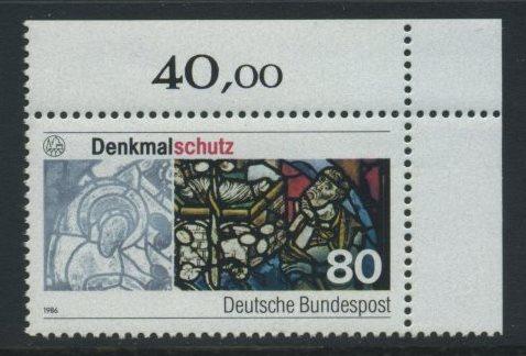 BUND 1986 Michel-Nummer 1291 postfrisch EINZELMARKE ECKRAND oben rechts