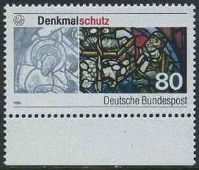 BUND 1986 Michel-Nummer 1291 postfrisch EINZELMARKE RAND unten