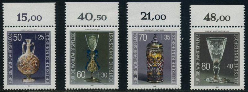 BUND 1986 Michel-Nummer 1295-1298 postfrisch SATZ(4) EINZELMARKEN RÄNDER oben (a)