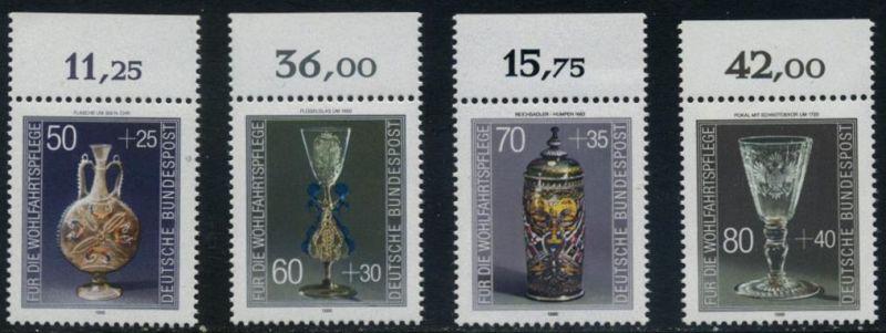 BUND 1986 Michel-Nummer 1295-1298 postfrisch SATZ(4) EINZELMARKEN RÄNDER oben (b)