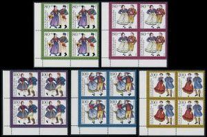 BUND 1993 Michel-Nummer 1696-1700 postfrisch SATZ(5) BLÖCKE ECKRAND unten links