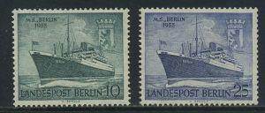 BERLIN 1955 Michel-Nummer 126-127 postfrisch SATZ(2) EINZELMARKEN - Taufe des Motorschiffes Berlin