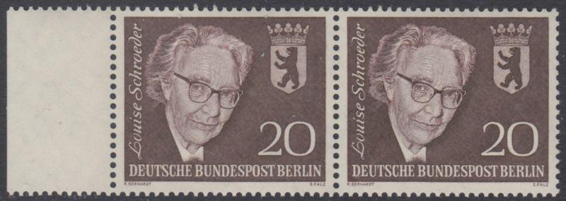 BERLIN 1961 Michel-Nummer 198 postfrisch horiz.PAAR RAND links - Todestag von Louise Schröder, Politikerin
