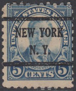 USA Michel 267 / Scott 557 mit Falzrest EINZELMARKE precancelled - Persönlichkeiten und Landesmotive: Theodore Roosevelt