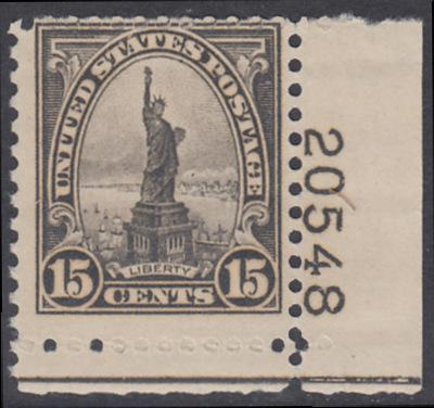 USA Michel 277 / Scott 566 postfrisch (Gummierung beeinträchtigt) EINZELMARKE ECKRAND unten rechts (LR/20548) - Persönlichkeiten und Landesmotive: Freiheitsstatue, New York