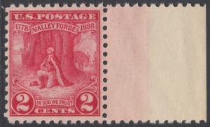 USA Michel 309 / Scott 645 postfrisch EINZELMARKE RAND rechts - 150. Jahrestag des Winterlagers der Armee von General Washington in Valley Forge