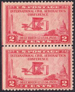 USA Michel 314 / Scott 649 postfrisch vert.PAAR (links ungezähnt) - Internationale Zivilluftfahrt-Konferenz in Washington, DC: Flugzeug der Gebrüder Wright