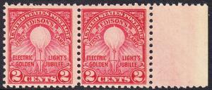 USA Michel 317 / Scott 655 postfrisch horiz.PAAR RAND rechts - 50. Jahrestag der Erfindung der elektrischen Glühlampe durch Thomas Alva Edison