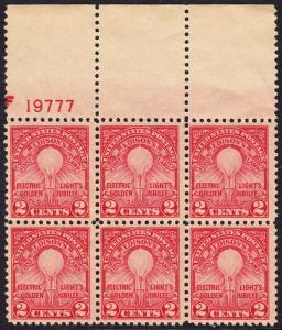 USA Michel 317 / Scott 655 postfrisch horiz.BLOCK(6) RÄNDER oben m/Platten-# 19777 - 50. Jahrestag der Erfindung der elektrischen Glühlampe durch Thomas Alva Edison