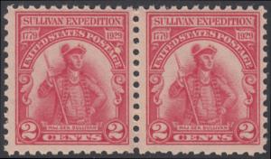 USA Michel 318 / Scott 657 postfrisch horiz.PAAR - 150. Jahrestag der Forschungsreise von John Sullivan im Staate New York