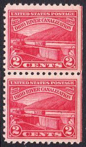 USA Michel 320 / Scott 681 postfrisch vert.PAAR (rechts ungezähnt) -  Vollendung der Ohio-Kanalisation zwischen Cairo, IL und Pittsburgh, PA