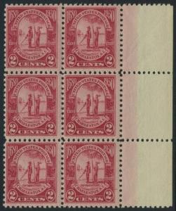 USA Michel 325 / Scott 683 postfrisch vert.BLOCK(6) RÄNDER rechts (a1) - 260. Jahrestag der Gründung der Provinz Carolina, 250 Jahre Stadt Charleston, SC