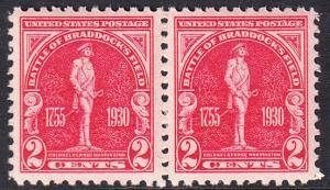 USA Michel 329 / Scott 688 postfrisch horiz.PAAR (a1) - 175. Jahrestag der Schlacht von Braddock's Field (Schlacht bei Monongahela)