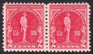 USA Michel 329 / Scott 688 postfrisch horiz.PAAR (a2) - 175. Jahrestag der Schlacht von Braddock's Field (Schlacht bei Monongahela)